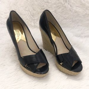 Michael Kors Navy Patent Leather Wedges